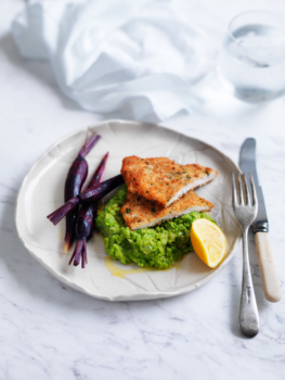 Chicken schnitzel with mushy peas