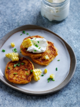 Corn + sweet potato pikelets