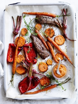 Slow-roasted vegetables with lamb