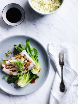 Steamed fish, coconut rice and bok choy