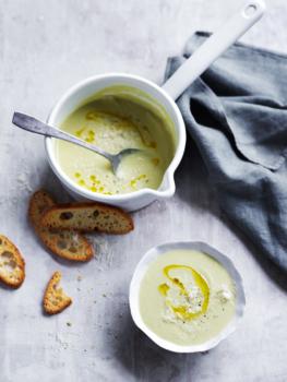 white zucchini + cannellini soup