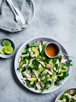 Coconut chicken salad with watercress