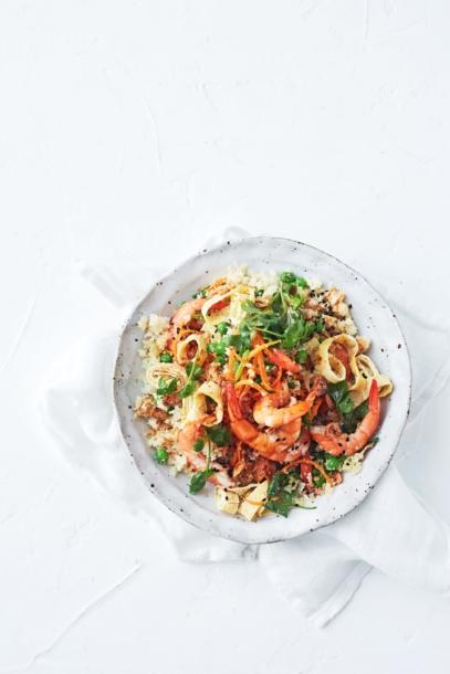 cauliflower fried rice with prawns