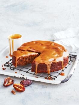 spelt almond sticky date pudding