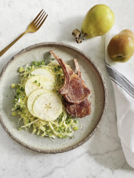 Lamb cutlets with Pear Savoy Slaw