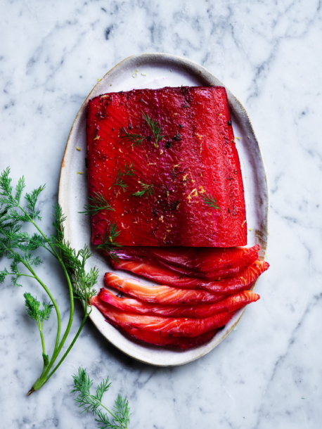 Beetroot cured gravlax